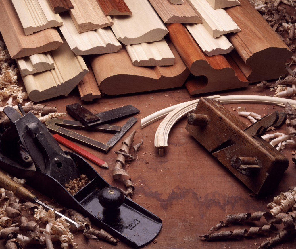 Woodworking tools and shavings